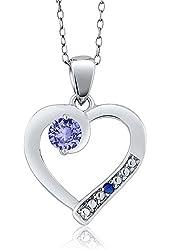 0.31 Ct Round Blue Tanzanite 925 Sterling Silver Pendant