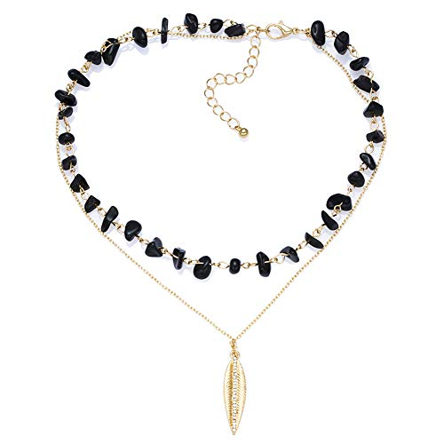 Artilady Layered Necklace Gold Choker - Natural Stone Choker Necklace Black Agate Beaded Crystal Leaf Pendant Necklace for Women Boho Jewelry Gifts for Girls(Black)