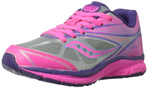 Saucony Girls Kinvara 4 Running Shoe ,Silver/Pink/Purple,3.5