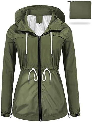 sunseen Women's Outdoor Waterproof Raincoat Packable Lightweight Rain Jacket Hooded Outerwear Trench Coat Travel Windbreaker