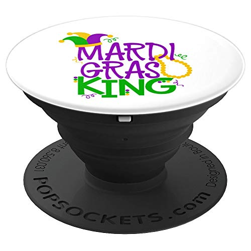 Mens Mardi Gras King Gift Dad Husband Jester Hat Beads - PopSockets Grip and Stand for Phones and Tablets