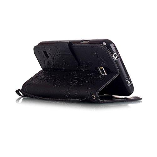 Wkae De lujo la mariposa Rhinestone repujado estuche de cuero de la PU cubierta de la caja de estilo cartera con dinero y tarjetas de ranuras funcion soporte para Samsung A310, G530, J5 y S5 DIEBELLEU negro