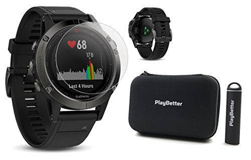 Garmin fenix 5 (Slate Gray with Black Band) POWER BUNDLE | Includes HD Glass Screen Protector, PlayBetter Protective Hard Case & PlayBetter Portable Charger | Multi-Sport GPS Watch