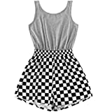 Verdusa Women's Casual Elastic Waist Sleeveless Checkered Romper Jumpsuit Grey M