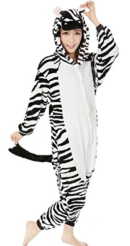 Nicetage Unisex Adult Pajama Onesies Fleece One Piece Halloween Costumes Zebra L