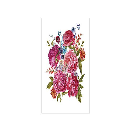 3D Decorative Film Privacy Window Film No Glue,Shabby Chic Decor,Gentle Summer Flora Hyacinths BlackBerry and Peonies Victorian Vegetation Decorative,Multicolor,for Home&Office