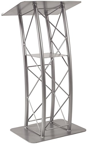 Displays2go Silver Aluminum and Steel Truss Lectern with Curved Design and Built-In Shelf, 47-Inch Tall (Steel Lectern)
