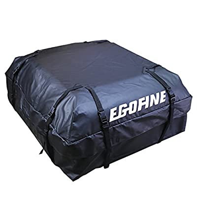 Egofine Rooftop Cargo Bag Waterproof Car Rooftop Cargo Carrier Bag Car Roof Luggage Carrier Bag (15 Cubic Feet) for Cars, Vans and SUVs with Roof Rail or Roof Rack