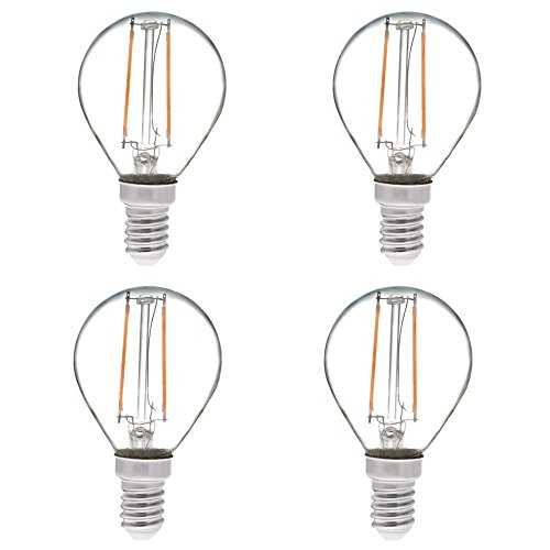 HERO-LED S11-DS-2W-WW27 Dimmable S11 E14 European Candelabra Base 2W LED Vintage Antique Filament Bulb, 25W Equivalent, Warm White 2700K, 4-Pack [Attention E14 Base]