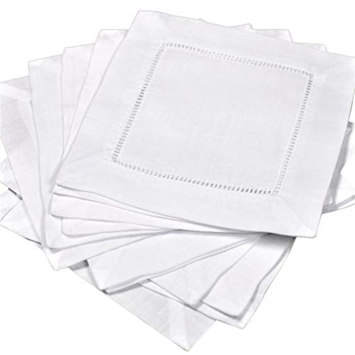 (12 White Linen Hemstitch Cocktail Napkins 6