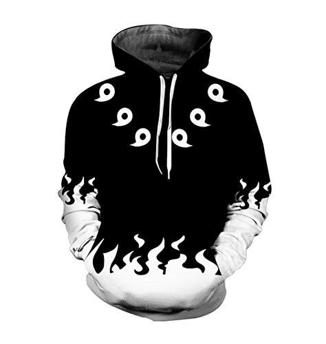 HICOSER Adult 6th Sixth Hokage Naruto Uzumaki Pullover Hoodies Costume Sweatshirt Jacket Unisex Black/White