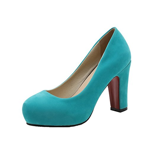 Solid Pumps Shoes WeiPoot Heels Velvet Round Toe Pull On Women's High Green Brazil rtXrq5Pn