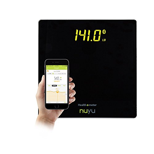 Health o meter nuyu Wireless Connected Scale with Auto-Pairing, BMI Tracking and Disappearing LED Screen, Black