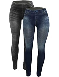 Women's Denim Print Fake Jeans Seamless Full Length...