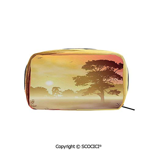 Rectangle Printed Beauty Cosmetic Bag Pouch Majestic Old Big Tree Landscape in Intense Sun Beams Woodland Magical Scenery Women fashion Toiletry Travel -