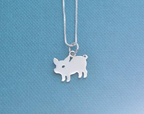 (Little Girls Sterling Silver Silhouetted Pig Charm on a 14