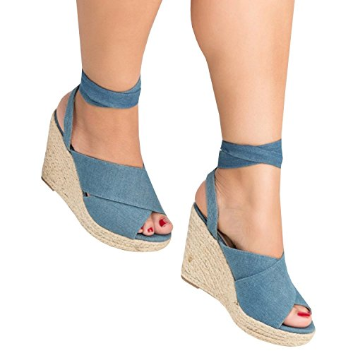 Minetom® Women's Summer Sweet Espadrilles Suede Leather Peep Toe Lace-up Wedge Chunky High Heel Sandals Thong Flip Flop Ankle Strap Platform Shoes Blue QcksQ8TpY