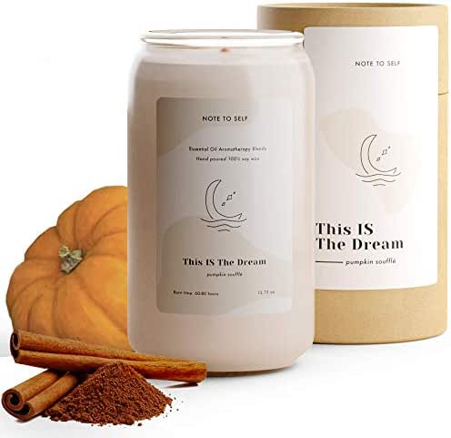 Note to Self: This Is The Dream - Pumpkin Souffle Candle | Scented Aromatherapy Candles | Soy Candles with Fall Scents You'll Crave | Big Eco-Friendly Long Lasting Candles | Large White