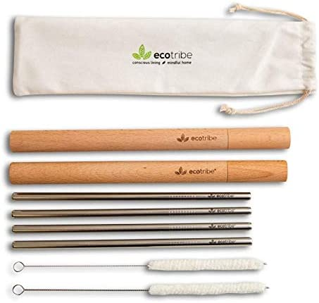 Stainless Steel Assorted Eco Friendly Reusable Metal Drinking Straws /& Brushes