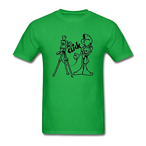 (WHShirt Men's Camera Cartoon Logo Short Sleeve T-Shirt Large Forest Green)