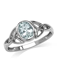 Genuine Blue Aquamarine White Gold Plated 925 Sterling Silver Triquetra Celtic Knot Ring