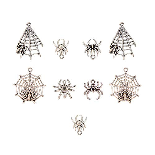 PH PandaHall 30pcs 6 Styles Tibetan Alloy Antique Silver Spider & Web Pendants Charms for Halloween DIY Necklace Bracelet Making