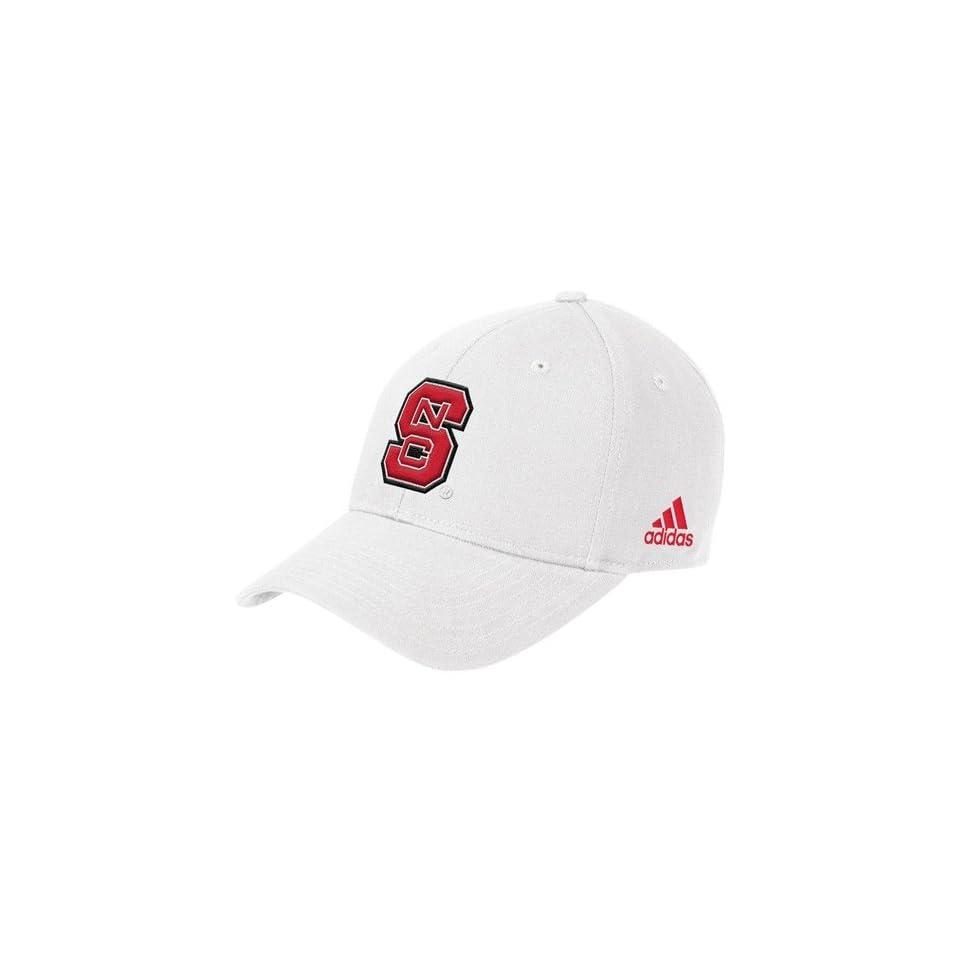 NCAA adidas North Carolina State Wolfpack White Basic Logo Structured Adjustable Hat