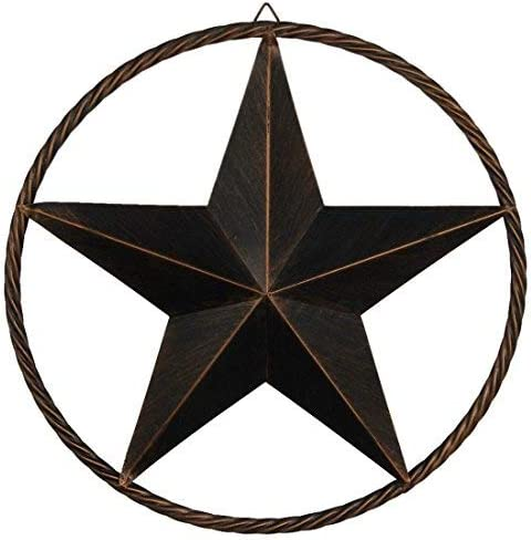 EBEI Metal Barn Star Circle Rustic Style Decorative 31.5 Vintage Texas Lone Star Dark Brown Western Home Decor