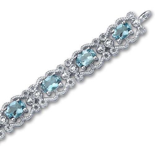 Swiss Blue Topaz Bracelet Sterling Silver 8.50 Carats Vintage Design by Peora (Image #3)