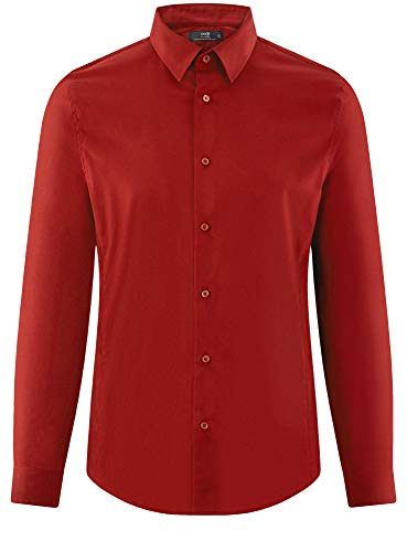 À Rouge Basique 4c00n Oodji Longues Homme Manches Chemise Ultra 7nqn0Iw6g
