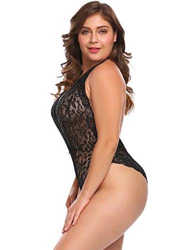 Plus Size Women Halter Sexy One Piece Lingerie Lace Teddy Bodysuit Deep V  Sleepwear 601fcedd3
