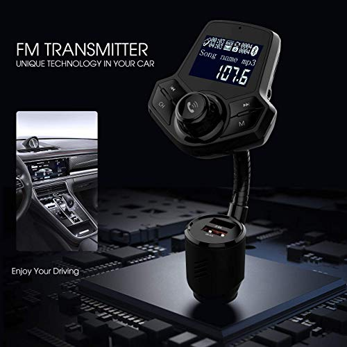 in-Car Bluetooth FM Transmitter Wireless Radio Adapter Hands-Free Car Kit with 1.44 Inches Display TF Card Mp3 Player Dual USB Ports AUX Input/Output Voltmeter Function for Smart Phones Audio Players by JFONG (Image #3)