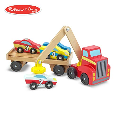 (Melissa & Doug Magnetic Car Loader Wooden Toy Set, Cars & Trucks, Helps Develop Motor Skills, 4 Cars and 1 Semi-Trailer Truck, 5.75