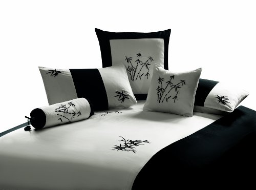 """King size black and white 3 piece Duvet Cover Set, coverlet comforter 106""""x92"""" 2 Pillows 20""""x36"""". Asian inspired decorative design featuring Embroidered Oriental Bamboo Zen Garden"""