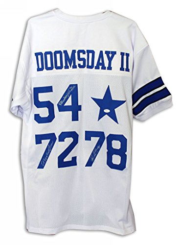 Doomsday Ii' Dallas Cowboys White Throwback Jersey Autographed By Randy White Ed 'Too Tall' Jones & John Dutton. - 100% Authentic Autograph - Genuine NFL Signature - Perfect Sports (Jones Autographed White Throwback Jersey)