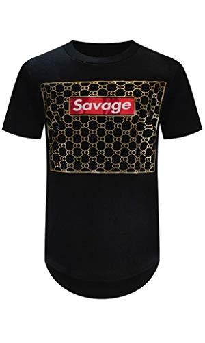 Trending Apparel Men Urban T-Shirts Racing Shark Mouth Millionaires Club (4XL, Black-Savage)