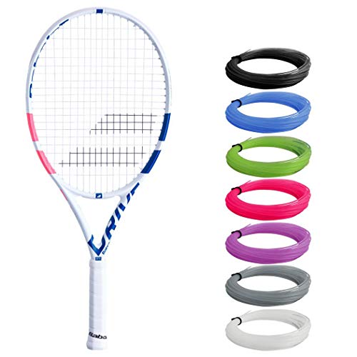 "Babolat Pure Drive Junior 25 Inch White/Pink/Blue Tennis Racquet (4"" Inch Grip) Strung with Pink Colored Synthetic Gut Racket String"