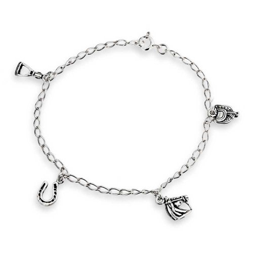 (Good Luck Equestrian Horseshoe Horses Charm Bracelet For Women For Teen Cubic Zirconia Pave CZ 925 Sterling Silver)