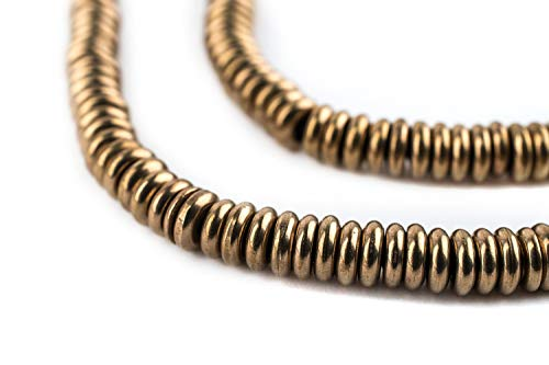 (Antiqued Brass Heishi Beads - Full Strand of Fair Trade Beading Supplies - The Bead Chest (5mm, Antiqued Brass))