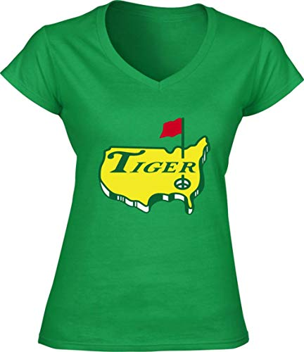 Green Tiger The Masters Logo Ladies V-Neck T-Shirt Adult ()