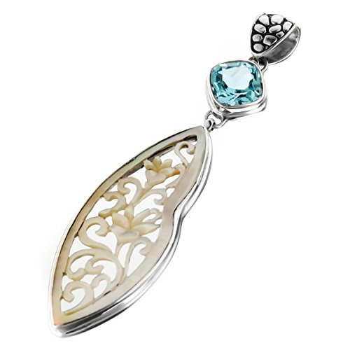 Mother Of Pearl Shell Carved Filigree Blue Topaz 925 Sterling Silver Pendant, 2 11/16