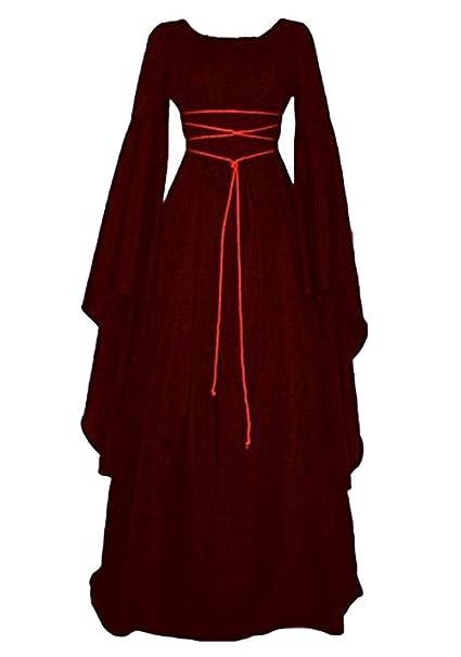 Kaiyei Damen Mittelalter Kleid Langarm Vintage Kleider Rundhalsausschnitt Gürtel Maxi Fasching Kleid Renaissance Kleidung Ballkleid Partykleid