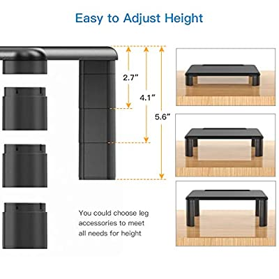 Monitor Stand Riser with Adjustable Height and Storage Organizer for Computer, Printer, Laptop, Desk with Tablet & Phone Holder, Cable Management Slot