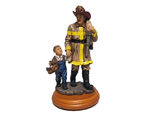 Fireman with Child Statue A Salute to America's Professional Firefighters Ceramic Figure