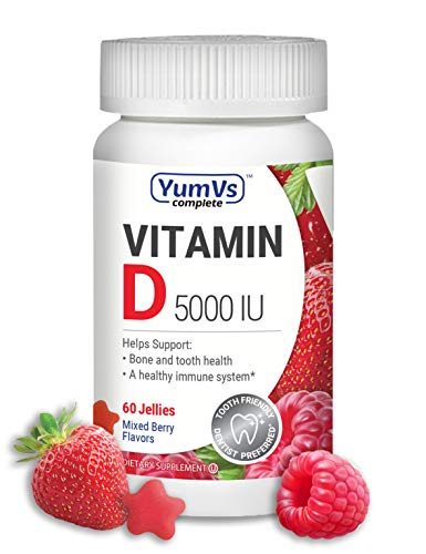 YumVs Complete Vitamin D3 Jellies (Gummies) 5000 IU, Mixed Berry Flavor – Strawberry and Raspberry (60 Ct); Daily Dietary Supplement for Men and Women, Chewable, Vegetarian, Kosher, Halal, Gluten Free