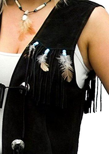 Western fransenweste w-28732 long pour femme noir taille xS - 5XL
