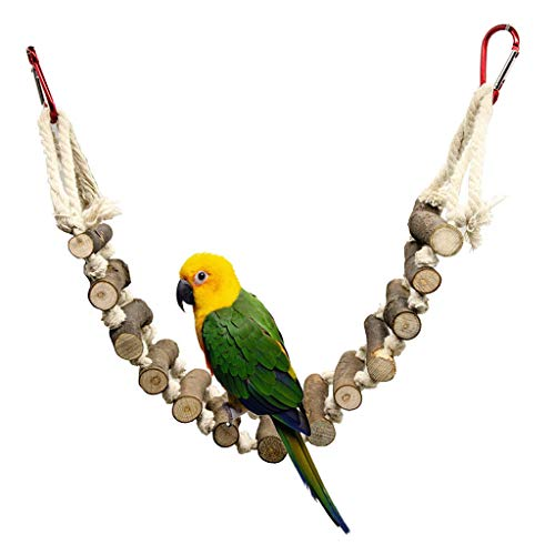 Glumes Bird Parrot Toys Macaw Cockatoo African Grey Natural Wooden Block Hammock Swing Cage Hanging Chewing Toy