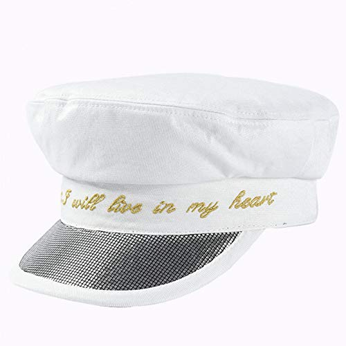 ZYKIMYONG Autumn Hats Caps Embroidery Letter Newsboy Caps Flat Top Patchwork Caps