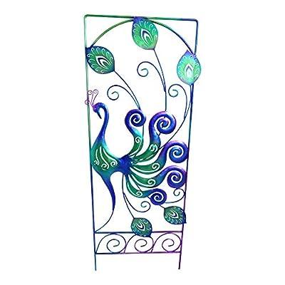 "Comfy Hour 35"" Blue Peacock Metal Art Garden Fence"