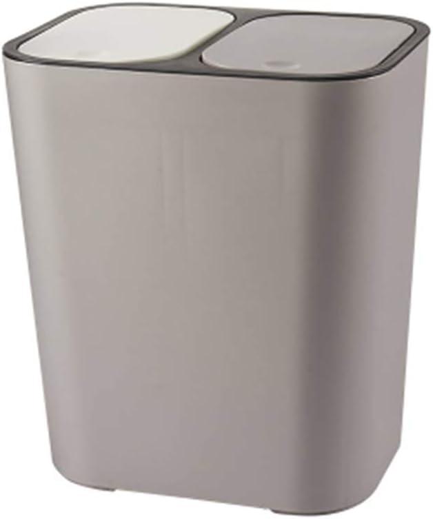 Bote de basura para el hogar, Papelera rectángulo de plástico doble con botones Compartimiento de reciclaje 12 litros Cubo de la basura cubo de la basura